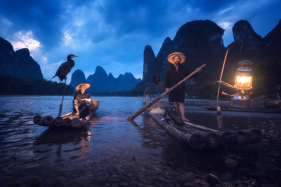 legendary cormorant fishermen at blue hour 3