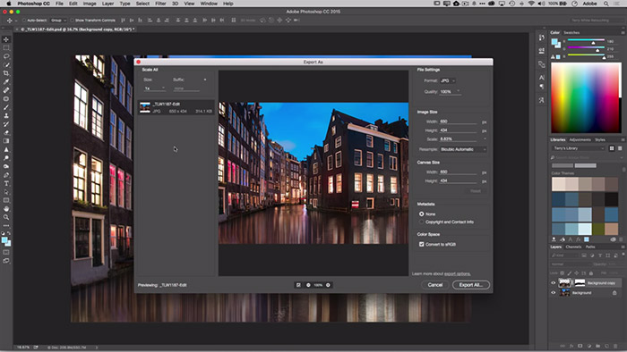Save For Web Replaced by Export As in Photoshop CC 2015