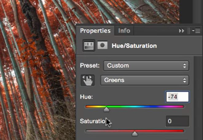 move the hue slider to create autumn colours in photoshop