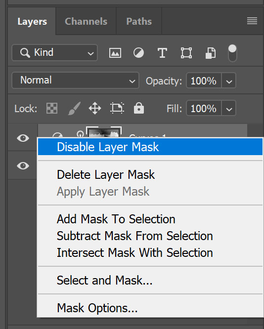 Disable a layer mask