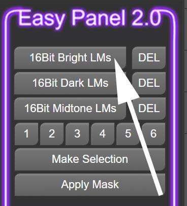 create 16 bit luminosity masks