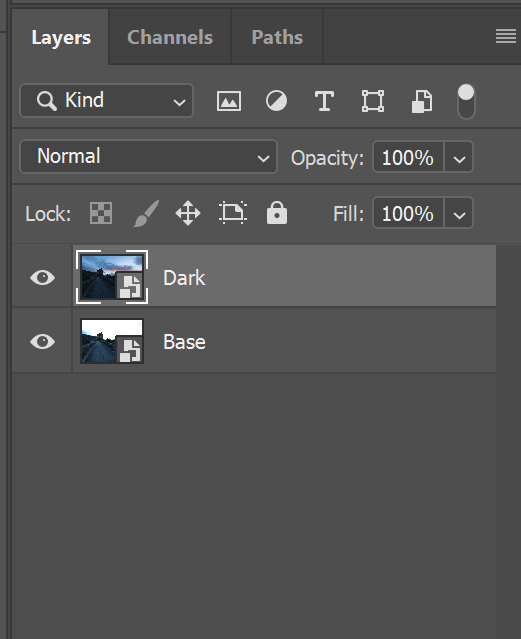 how to stack exposures in the layer panel