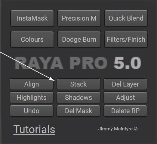 stack exposures using Raya Pro