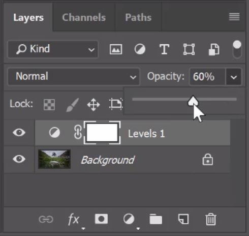 levels layer opacity